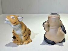 Franklin Mint Noah's Ark Salt & Pepper Shakers, 1987, Misc. Tiger & Hippopotamus