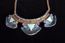 SILPADA POSY FRINGE NECKLACE, LEATHER & BLUE CRYSTALS, NWT