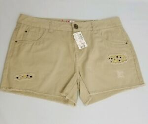 Justice Girl 16 Regular Tan Distressed Sequin Shorts New