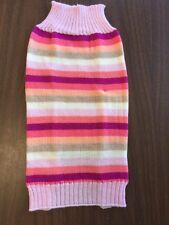 Dog Sweater Size Medium Pink Orange Purple And White Stripe