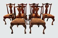 SOUTHERN ANTIQUE SET OF SIX CHIPPENDALE MAHOGANY BALL & CLAW DINING CHAIRS