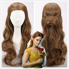 2017 MOVIE Beauty and the Beast Princess Belle long wavy brown Cosplay Wigs NEW