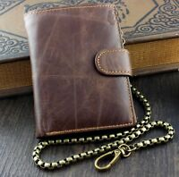 Men's Biker's Many Card solt Genuine Leather Wallet With 50 cm Long Chain