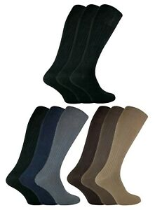 3 Pack Mens Thin Extra Long Knee High 100% Cotton Lightweight Ribbed Dress Socks