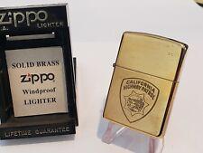 Brass CALIFORNIA HIGHWAY PATROL Zippo Lighter Motorcyle Police Officer CHP 1994