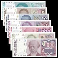 ARGENTINA SET 7 pcs  1+5+10+50+100+500+1000 Australes UNC