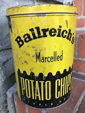 Vintage 1960-70 Ballreich's 1# Potato CHIP PRETZEL Tin Can Advertising Tiffin Oh