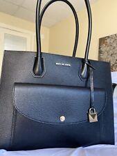 Michael Kors Leather Black Purse Mercer XL Pocket Tote Pocket Multi Bag