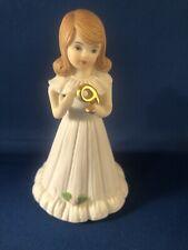 Vintage Enesco Growing Up Birthday Girls Brunette Porcelain Figurine Age 9 Euc