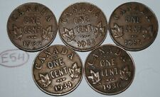 Canada 1932 1933 1934 1935 1936 George V 1 Cent Canadian Copper Coins Lot #E54