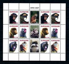 [SUV1481] Surinam 2007 Wildlife Monkey Primates Miniature sheet MNH