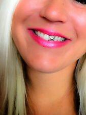 NEW Silver Platinum Style Simulate Diamond Single Front TOOTH Cap Grill GRILLZ