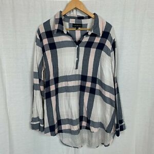 Lane Bryant Womens Plaid Long Sleeve Popover Shirt Casual 100% Cotton Size 22/24