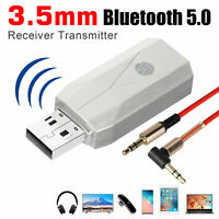 2 in1 Bluetooth 5.0 Audio Adapter Transmitter Receiver for TV/PC Car AUX Speaker