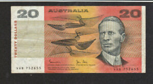 20 DOLLARS FINE BANKNOTE FROM AUSTRALIA 1983 PICK-46d RARE