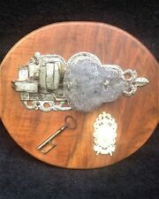 "antique lock & key from ""Middle Age"" German castle, large and decorative w.crest"
