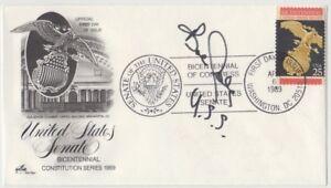 Stamp 1989 USA 22c Senate Bicentennial Artcraft cachet FDC signed by politician