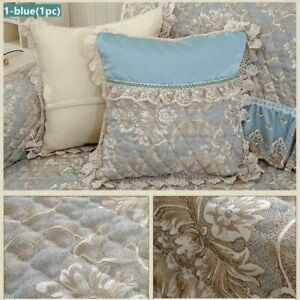Floral Cushion Case Lace Frill Pillowcase Only Cover European Style Blue 50*50cm