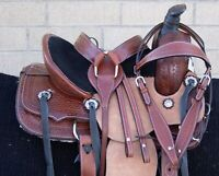 HORSE SADDLE WESTERN USED TRAIL BARREL ROPING RANCH TOOLED LEATHER TACK 12 13 14