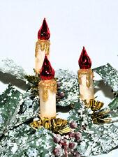 Christbaumschmuck Kerze auf Clip champagner/rot  3fach