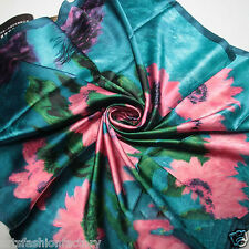 Blue Satin Silk like Square Scarf with Satin Oil-painted Flowers Print