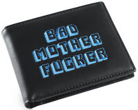 Black and Blue Embroidered BMF (Bad Mother Fu**er) Pulp Fiction Leather Wallet