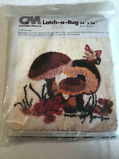 Vintage Columbia-Minerva Latch Hook Rug Canvas Mushrooms 70s 34x34 inches