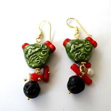SICILY Women's Earrings C. Gold Ceramic Prickly pears Sim. Red Coral Pearl 32 ZZ