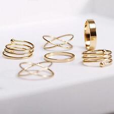6*/Set Celebrity Midi Above Knuckle Ring Band Gold Plated Tip Finger Stacking A+