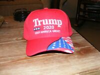 Red Trump 2020 MAGA Keep America Great Hat Flag on Bill - FREE SHIPPING!!!