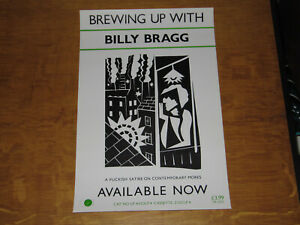 BILLY BRAGG - BREWING UP WITH - ORIGINAL 1984 UK PROMO POSTER (BARNEY BUBBLES)