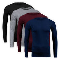 Men Classic Base Layer Top Crew Neck Stretch Cotton Casual Sweater T-Shirt S-2XL