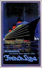 1930s France French Line Normandie Ocean Liner Travel Advertisement Poster Print
