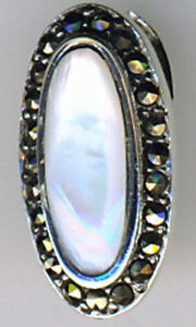 """925 Sterling Silver White Mother of Pearl & Marcasite Oval Pendant  Length 7/8"""""""