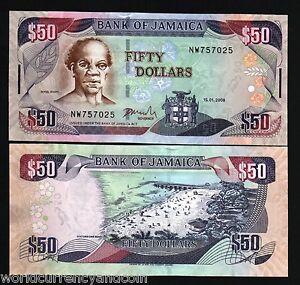 JAMAICA 50 DOLLARS P-83 2008 x 100 Pcs Lot BOAT DOCTOR BIRD UNC BUNDLE CAVE NOTE