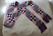 "vintage 1960 LONG FRINGED PURPLE/PINK ""geometric print  long sash tie"