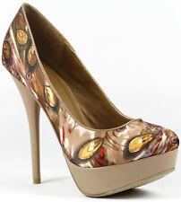 Brown Red Gold Peacock Feather Print Satin High Stiletto Heel Platform Pump