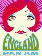 Great Britain England Twiggy 2 Airplane Vintage Travel Advertisement Poster