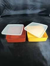 Vintage Tupperware Set of 2 Square Away Sandwich Keepers Containers