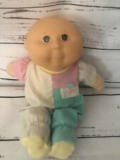 """1990 Cabbage Patch Kids Baby Doll Brown Eyes No Hair 14"""" w Outfit Hasboro"""