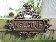 Metal Rustic Cast Iron Hanging Welcome Sign Victorian Design Garden Wall Plaque