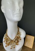 Vintage Moroccan Amber Baroque Pearls Dangle Statement Necklace Chunky GORGEOUS!