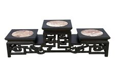 Multi Level Dark Brown Glossy Wooden Display Stand with Round Stone Center