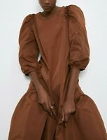 NWT ZARA VOLUMINOUS Pocketed TAFFETA DRESS PUFF SLEEVE BROWN MIDI W POCKETS Sz M