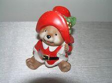 Estate Homco Porcelain Christmas Holiday Santa Paddington Like Teddy Bear