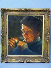 """Gemälde von Wilhelm Gdanietz """"Pfeifenraucher"""" Öl/Leinwand"""