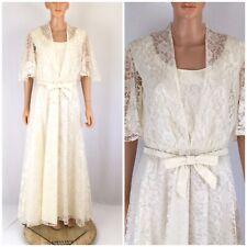 Vintage 80s Mike Benet Formals Ivory Lace Taffeta Maxi Dress Victorian Wedding L
