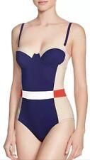NWT $225 Sz M Tory Burch Lipsi Colorblock Underwire Bandeau One-Piece Swimsuit