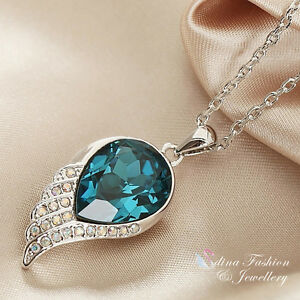 18K White Gold Plated Made With Swarovski Element Wing Teardrop Teal Necklace