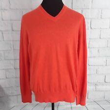 Banana Republic Men's Size Large Orange Long Sleeve Silk Linen Sweater